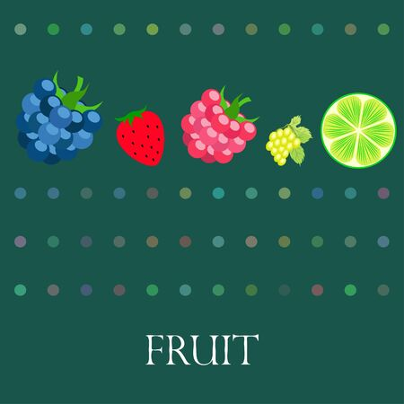 Fruits and berries. Colorful cartoon fruit icons: blackberry, raspberry, grape, strawberry, lime