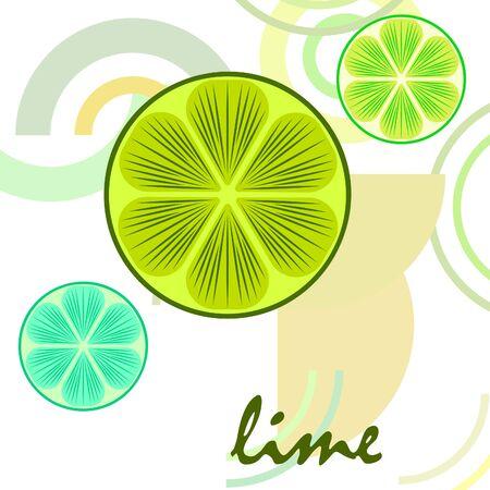 Green half and slice lime Illusztráció