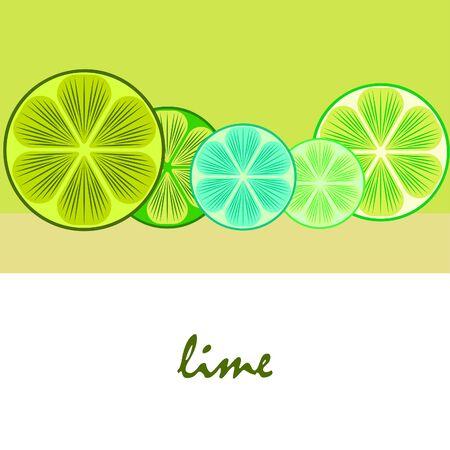 Green half and slice lime Иллюстрация