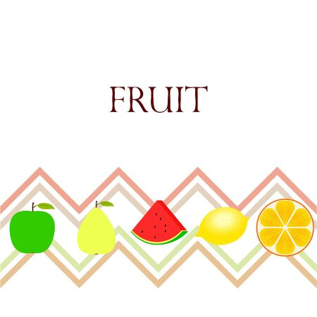 Fruits and berries. Colorful cartoon fruit icons: orange, pear, apple, lemon, watermelon.