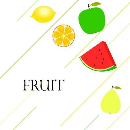 Fruits and berries. Colorful cartoon fruit icons: orange, pear, apple, lemon, watermelon