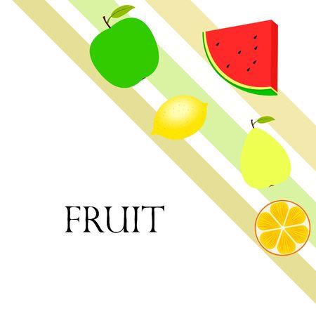 Fruits and berries. Colorful cartoon fruit icons: orange, pear, apple, lemon, watermelon.