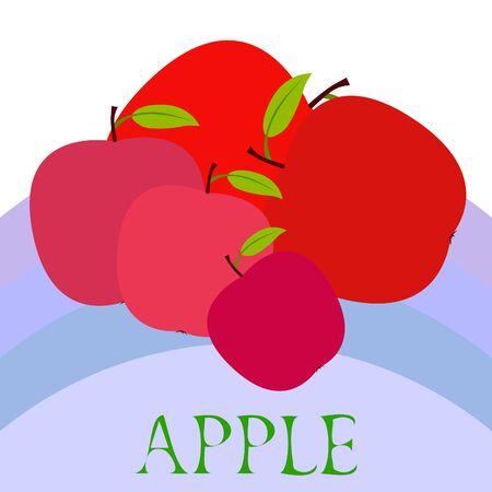 Apple and leaf on colored design