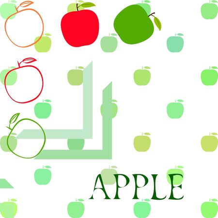 Apple and leaf on colored design