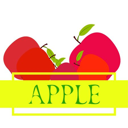 Apple frame vector illustration. Vector card design with apple and leaf. 写真素材 - 128901114