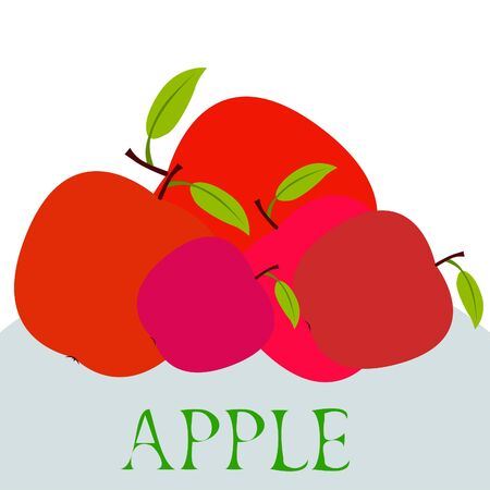 Apple frame vector illustration. Vector card design with apple and leaf. 写真素材 - 128901103