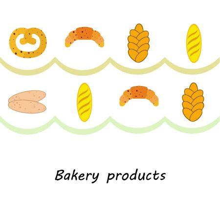 Breads graphics on white Standard-Bild - 128900854