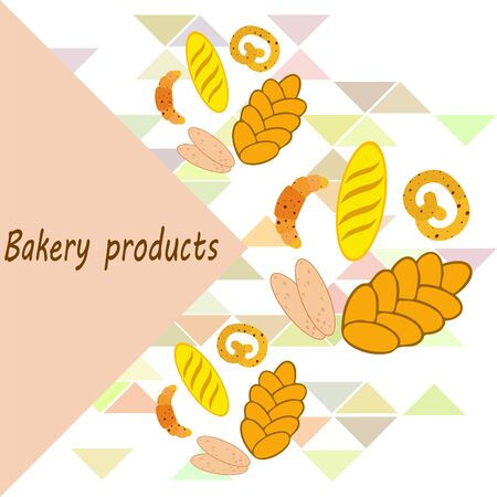 Bakery products banner, vector illustration. Wheat bread, pretzel, ciabatta, croissant, french baguette