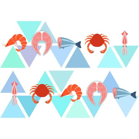 Fish, shrimp, crab, squid.Vector seafood. Food and restaurant design. Illustration