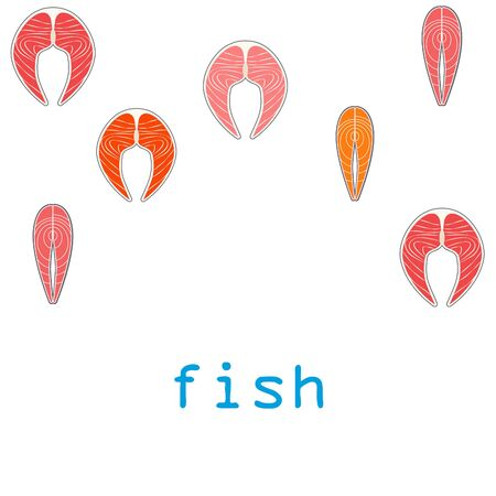 Fish, seafood. Vector seafood. Food and restaurant design.