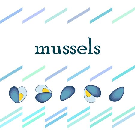 Mussels Fresh seafood on white 写真素材 - 128899537