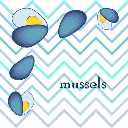 Mussels Fresh seafood on white 版權商用圖片 - 128899453