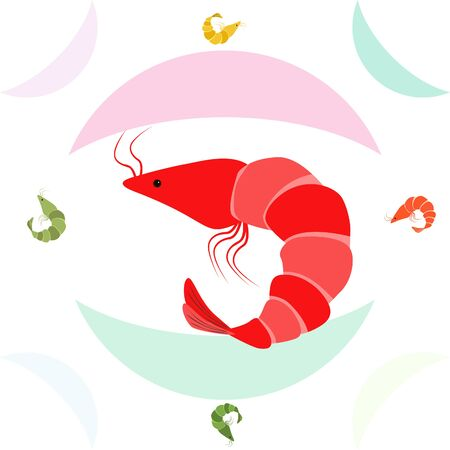 Shrimp seafood on white Ilustração Vetorial
