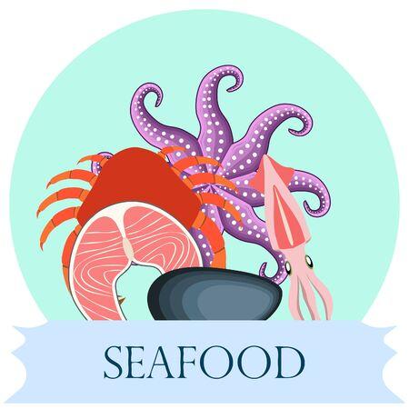 Fresh seafood on white  イラスト・ベクター素材
