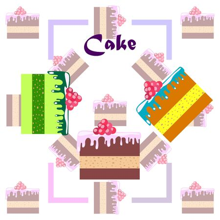 Colorful sweet cakes slices pieces vector illustration.
