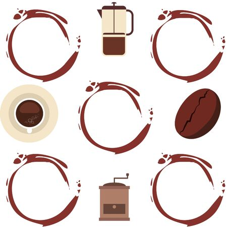 French press coffee, coffee beans, spilled coffee. Design elements for a cafe.