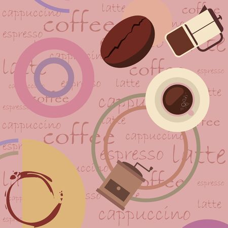 Coffee bean, cup, coffee grinder, french press. Design elements for a cafe. Stock Illustratie