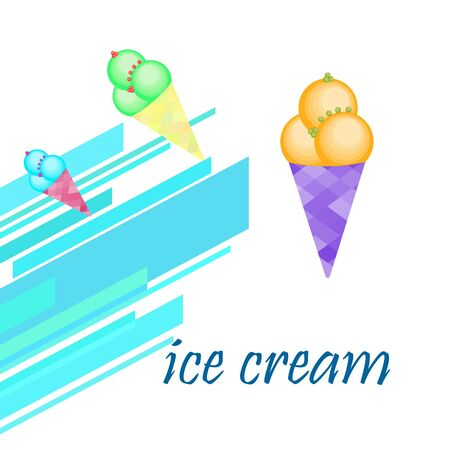 Sweet cartoon ice cream. Vector colorful ice creams. Illusztráció
