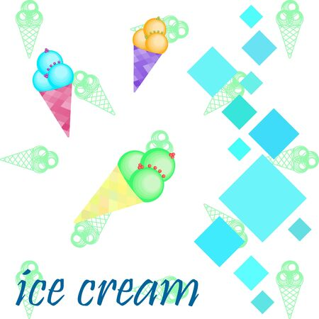 Sweet cartoon ice cream. Vector colorful ice creams. Фото со стока - 129220282
