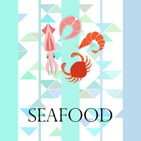 Fish, shrimp, crab, squid.Vector seafood. Food and restaurant design. Ilustracja