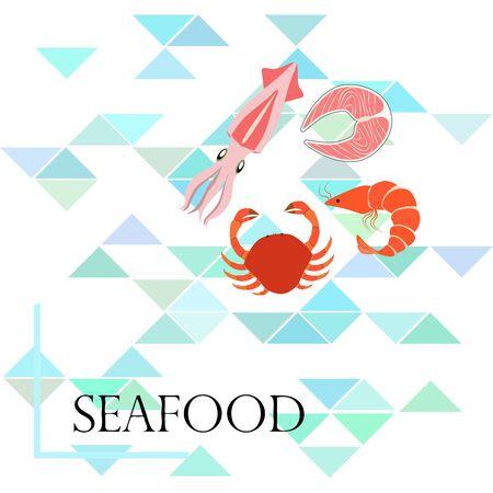Fish, shrimp, crab, squid.Vector seafood. Food and restaurant design.  イラスト・ベクター素材