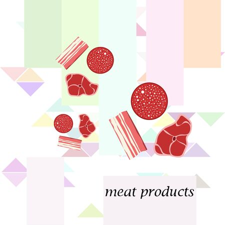 Sausage, steak, bacon, fresh meat. Image for farm shop concept. Vector background.  イラスト・ベクター素材