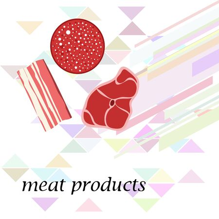 Sausage, steak, bacon, fresh meat. Image for farm shop concept. Vector background. Ilustração