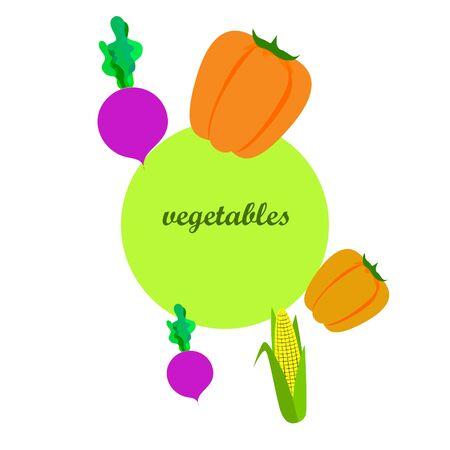 Fresh vegetables. Pepper, beet, corn. Organic food poster. Farmer market design. Vector. 일러스트