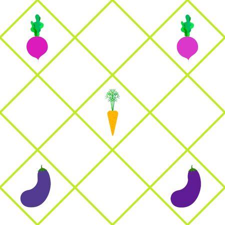 Carrot, beet, eggplant, fresh vegetables. Organic food poster. Farmer market design. Vector background.