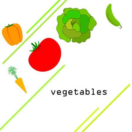 Cabbage, tomato, carrot, pepper, cucumber, fresh vegetables. Organic food poster. Farmer market design. Vector background. Ilustracja