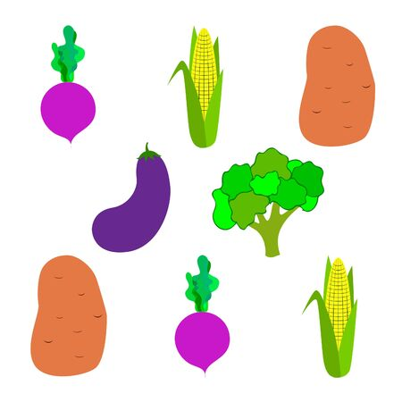 Corn, beet, eggplant, potato, broccoli. Organic food poster. Farmer market design. Vector background.