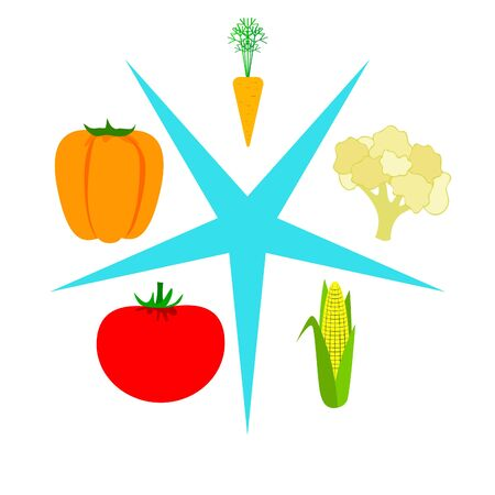Corn, tomato, pepper, carrot, cauliflower. Organic food poster. Farmer market design. Vector background.
