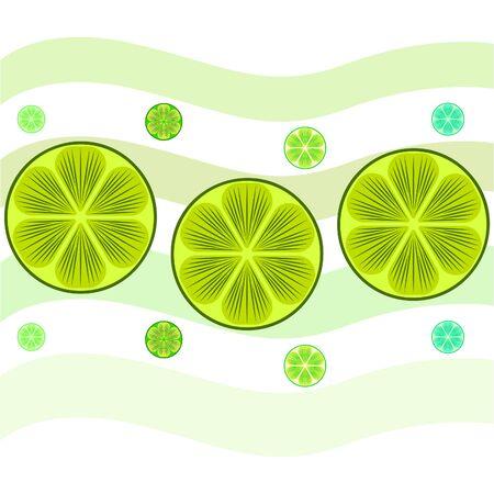 Green half and slice lime. Vector illustration, background.