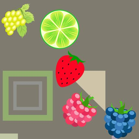 Fruits and berries. Colorful cartoon fruit icons: blackberry, raspberry, grape, strawberry, lime. Vector background.