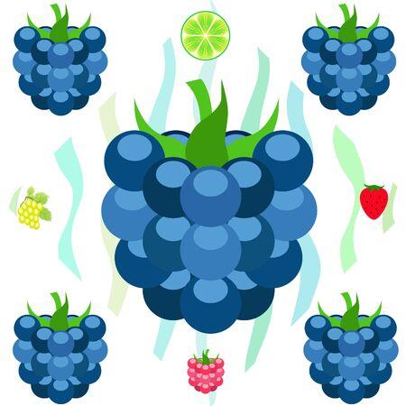 Fruit en bessen. Kleurrijke cartoon fruit pictogrammen: bramen, frambozen, druif, aardbei, limoen. Vectorachtergrond. Vector Illustratie