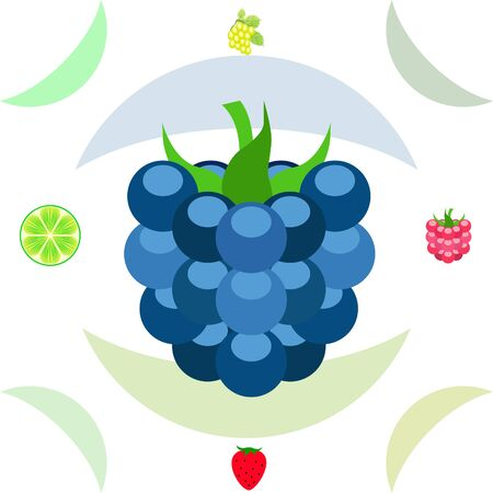 Fruits and berries. Colorful cartoon fruit icons