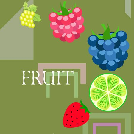 Fruits and berries. Colorful cartoon fruit icons: blackberry, raspberry, grape, strawberry, lime. Vector background. Stok Fotoğraf - 130571353