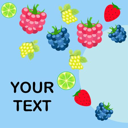 Fruits and berries. Colorful cartoon fruit icons: blackberry, raspberry, grape, strawberry, lime. Vector background. Stok Fotoğraf - 130571360
