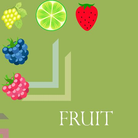 Fruits and berries. Colorful cartoon fruit icons: blackberry, raspberry, grape, strawberry, lime. Vector background. Stok Fotoğraf - 130571366