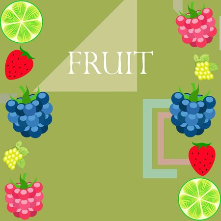 Fruits and berries. Colorful cartoon fruit icons: blackberry, raspberry, grape, strawberry, lime. Vector background. Stok Fotoğraf - 130571410