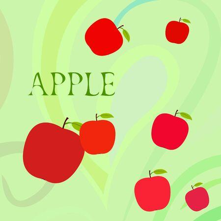 Apple frame vector illustration. Vector card design with apple and leaf. Foto de archivo - 130571412