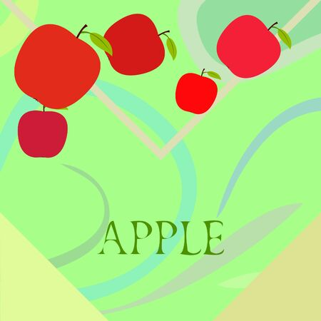 Apple frame vector illustration. Vector card design with apple and leaf.