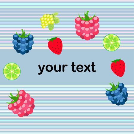 Fruits and berries. Colorful cartoon fruit icons: blackberry, raspberry, grape, strawberry, lime. Vector background. Stok Fotoğraf - 130571491