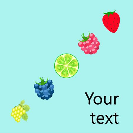 Fruits and berries. Colorful cartoon fruit icons: blackberry, raspberry, grape, strawberry, lime. Vector background. Stok Fotoğraf - 130571486
