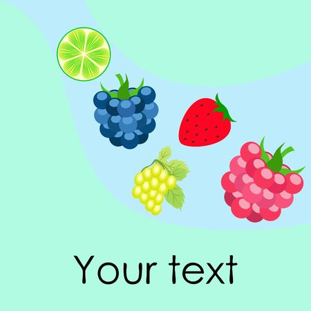 Fruits and berries. Colorful cartoon fruit icons: blackberry, raspberry, grape, strawberry, lime. Vector background. Stok Fotoğraf - 130571501