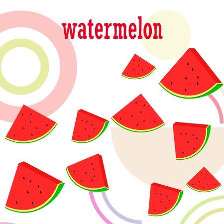 Watermelon. Banner juicy ripe watermelon slices. Summer time. Vetores
