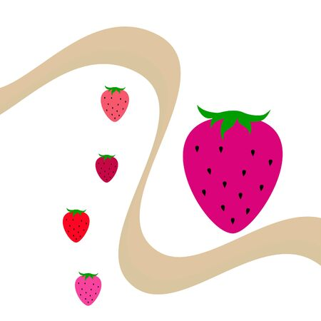 Garden strawberry fruit or strawberries flat color vector icon for food apps and websites