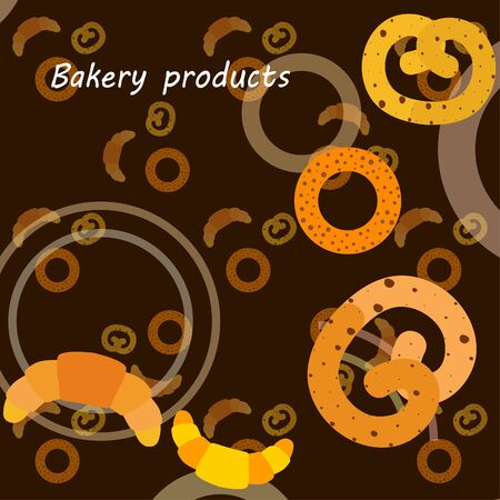 Bakery bread and pastries, bagel and croissant. Vector illustration Illusztráció