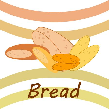 Bread, bakery icons, sliced fresh wheat bread. Vector background.