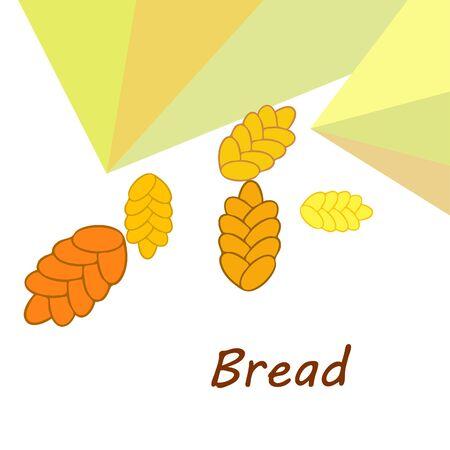Bread background. Vector bakery pastry, wicker bun. Use for menu design.